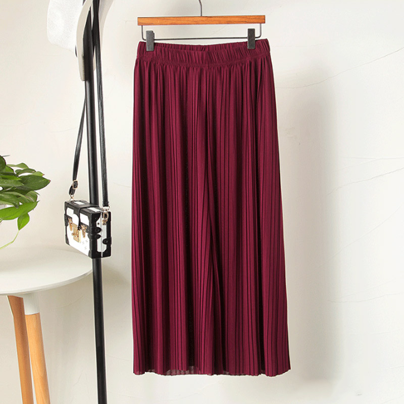 Women Chiffon Loose   Pants   High Waist Ruffled Hem Thin Pleated Trumpet Casual Trousers MUG88