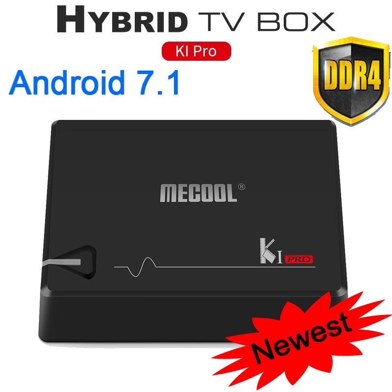 MECOOL KI Pro Android 7.1 Tv Box DVB-T2 DVB-S2 Amlogic S905D Quad 2GB/16GB Android Tv Box 2.4G/5GHz Wifi BT4.1 DVB-S2&T2 Player