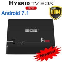 MECOOL KI Pro Android 7.1 Caixa De Tv DVB-T2 DVB-S2 Amlogic S905D Quad 2 GB/16 GB Caixa de Tv Android 2.4G/5 GHz Wifi DVB-S2 BT4.1 & T2 jogador