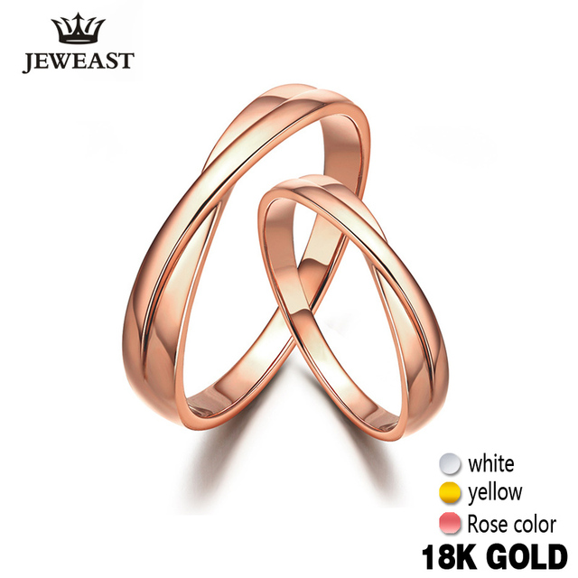 18k Pure Gold Lovers Ring 750 Solid Couple Classic Romantic Women Men Engaged Wedding Party Gift Bands Customizable Hot Sale