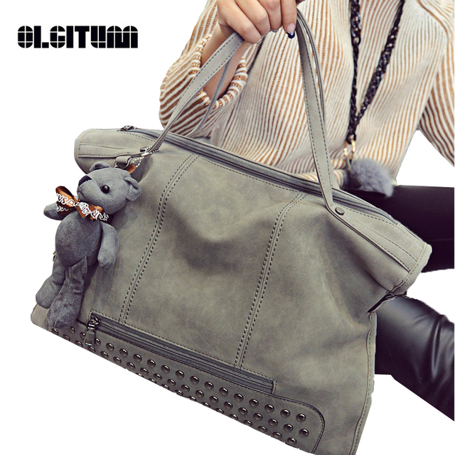 c9930a46a3 OLGITUM 2018 New Fashion Brand Women Handbag Luxury Matte PU leather Large  Big Bag Shoulder Messenger Bags Bear Pendant HB070