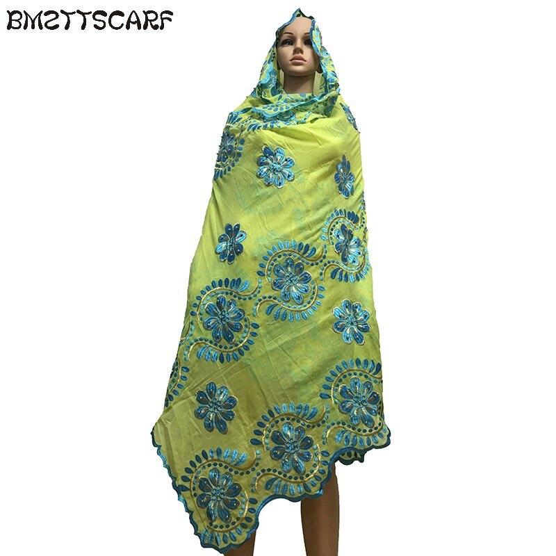 Belle écharpe de luxe pour femmes africaines avec beaucoup de perles sur chaque fleur en coton doux grande écharpe pour châles BM620