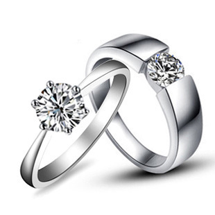 125ct nscd lovely diamond rings for lovers genuine 925 sterling silver platinum plated couple - Wedding Rings For Couples