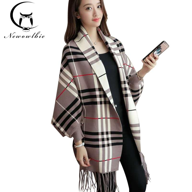 Female winter coat cloak shawls long sleeved cardigan sweater lattice tassel BianFuShan a Mao Yiqiu