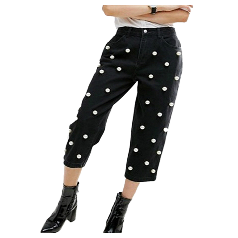 Hot New Fashion Women Vintage Pearl Nail Bead Denim High Waist Black Cross pants Casual Loose Washed Wide Legged Jeans