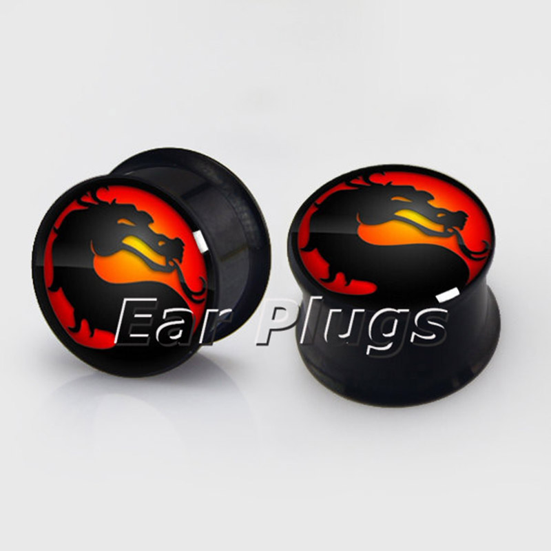 1 pair Dragon plugs anodized black ear plug gauges steel flesh tunnel body piercing jewelry 2 pieces
