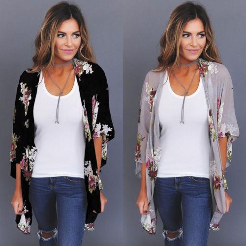 2018 New Women  Loose Blouse Summer Boho Chiffon Coat Shawl Kimono Cardigan Tops
