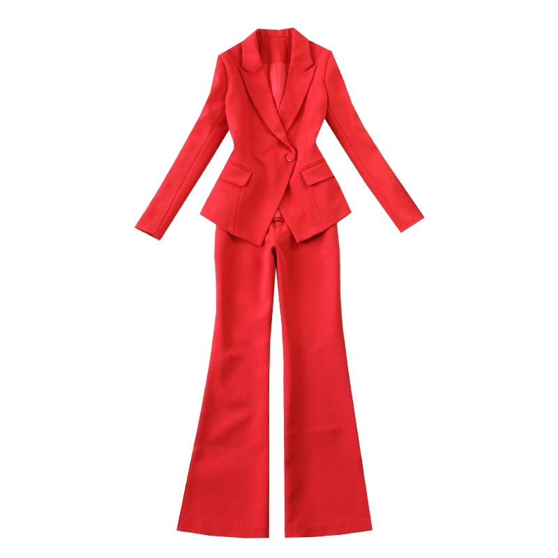 2019 Spring Summer Business Women 2 Piece Interview Suit Set Uniform Long-Sleeved Blazer And Pencil Pant Office Lady Suits