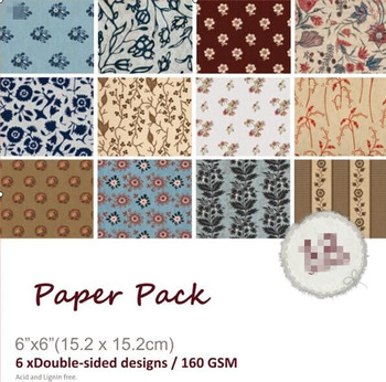 Retro flower style Scrapbooking paper pack of 24 sheets handmade craft paper craft Background pad 1