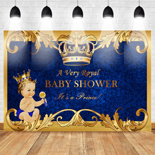 Neoback Baby Shower Backdrop Newborn Royal Prince Party Banner Background Gold Crown Blue Damask Birthday Photo Studio