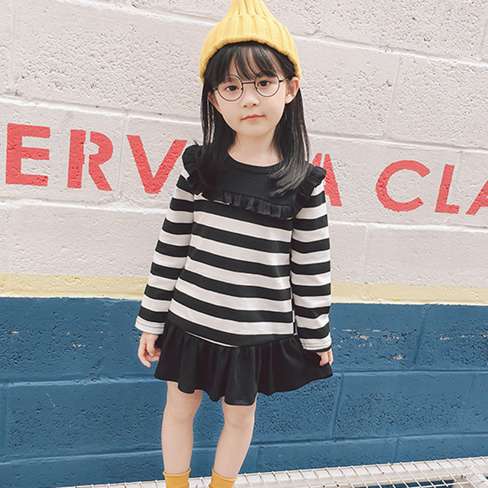 Girls Dress Toddler Kid Baby Girl Autumn Winter Long Sleeve Stripe Party Princess Dress Tops Outfits Clothes Dropshipping T3#