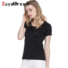 SuyaDream 여성 실크 T 셔츠 리얼 실크 반소매 O 넥 솔리드 베이직 셔츠 Simple Summer Top