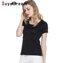 Suyadream mulher seda t camisa de seda real curto mangas compridas o pescoço sólida camisa básica simples verão topo
