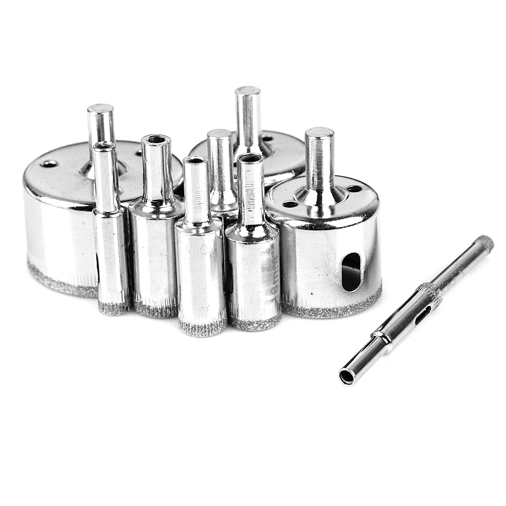 10PCS/set 6-50mm Diamond Coated Core Hole Saw Drill Bits Tool Cutter For Tiles Marble Ceramic Glass Granite Drilling 70mm diamond coated drill bit set kit hole saw holesaw glass granite tile cutter holer cutting tool for glass ceramic marble