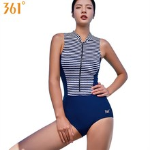 361 Swim Suit Striped Swimsuit Women One Piece Swimwear Ladies Monokini Bath 2018 High Neck Female Swimming