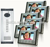 Saful 7 Handsfree Video Door Phone Wholesales Apartment Building Intercom System With Unlock Function 6 Users