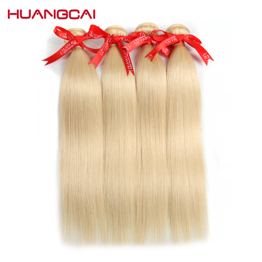 Huangcai 613 Blonde Hair Bundles Straight Human Hair Extension 12inch To 24inch Non Remy Free Shipping