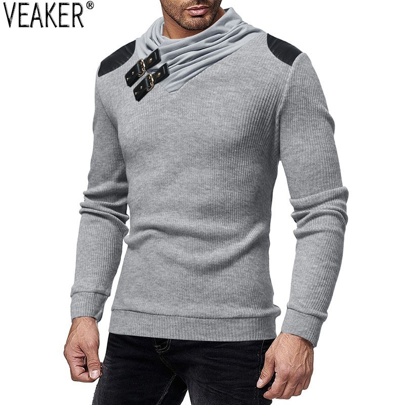 2019 Autumn Winter  Men's Turtleneck Sweater Pullovers Male Slim Fit Solid Color Sweaters High Street Knitted Pullover Tops 3XL