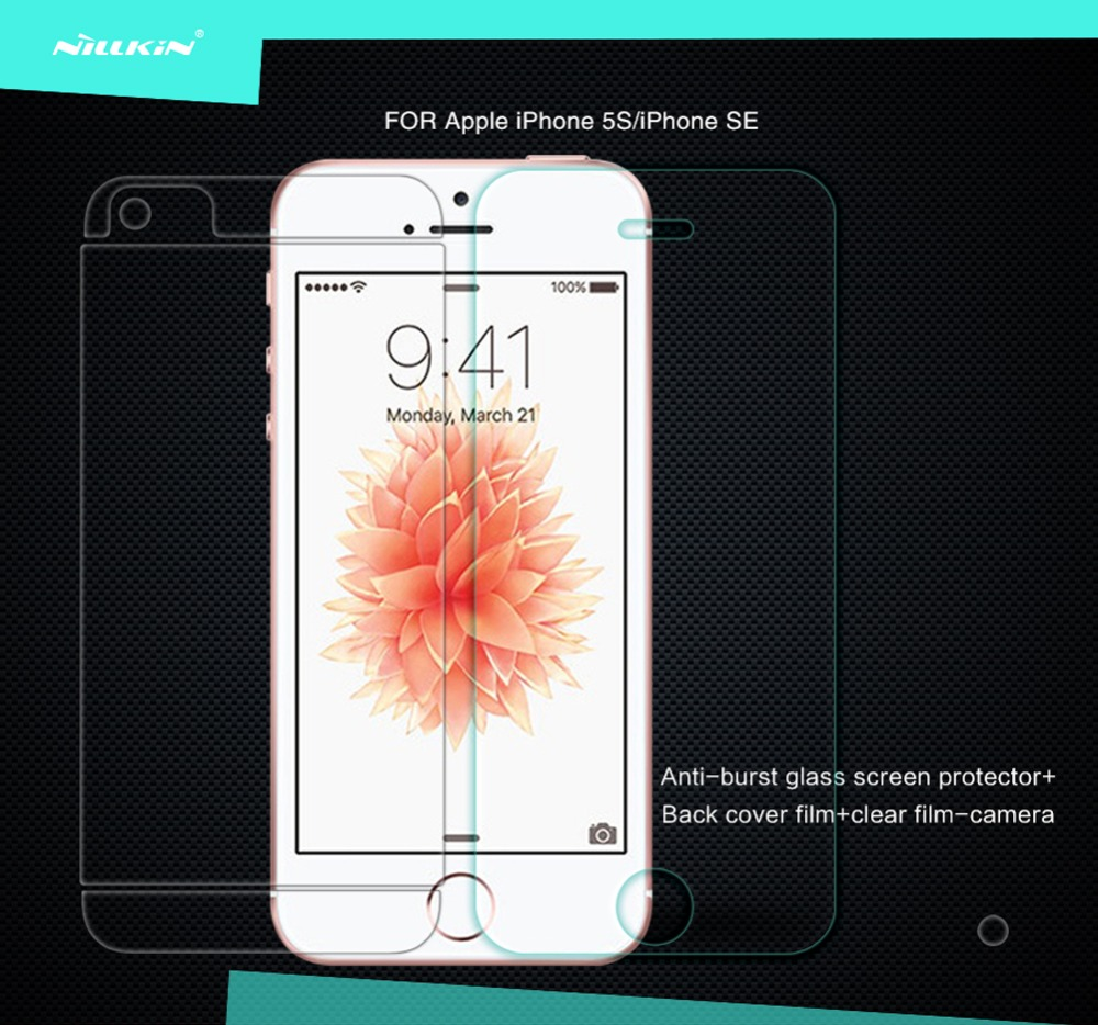 For Apple iPhone 5 5S SE Tempered Glass Screen Protector Original Nillkin Arc Ed
