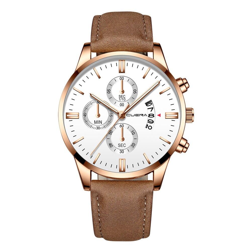 CUENA Men's Fashion Sport Relogio Masculino Leather Band Quartz Analog Wrist Watch Buckle Reloj Hombre Round Orologio Uomo