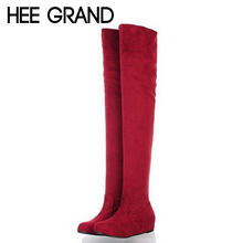 HEE GRAND Women Boots Suede Inner-increasing Bottom Heel Over The Knee Thigh High Women Shoes Size Plus 34-43 5 Colors XWX445
