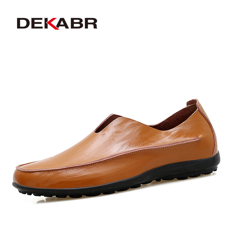 DEKABR Casual Men Shoes High Quality Genuine Leather Fashion Slip On Brand Loafers Summer Comfortable Soft Moccasins Shoes Man