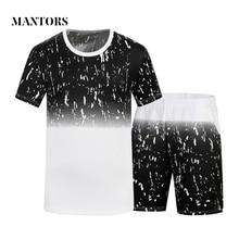 Vyriški atsitiktiniai rinkiniai 2018 m. Vasaros šortai, kostiumai, vyriški, sportiniai apranga, trumpi rankovių marškiniai, šortai, dviejų dalių rinkiniai, treniruokliai, vyriški