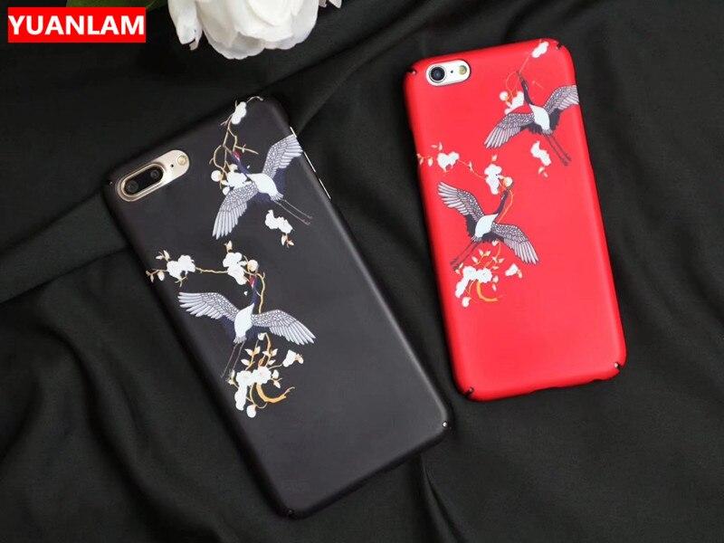 Роскошные мода мультфильм птица кран чехол для iPhone 6 6 S 7 8 X чехол для iPhone 7 6 8 плюс Жесткий PC Телефонные чехлы защитить заднюю крышку