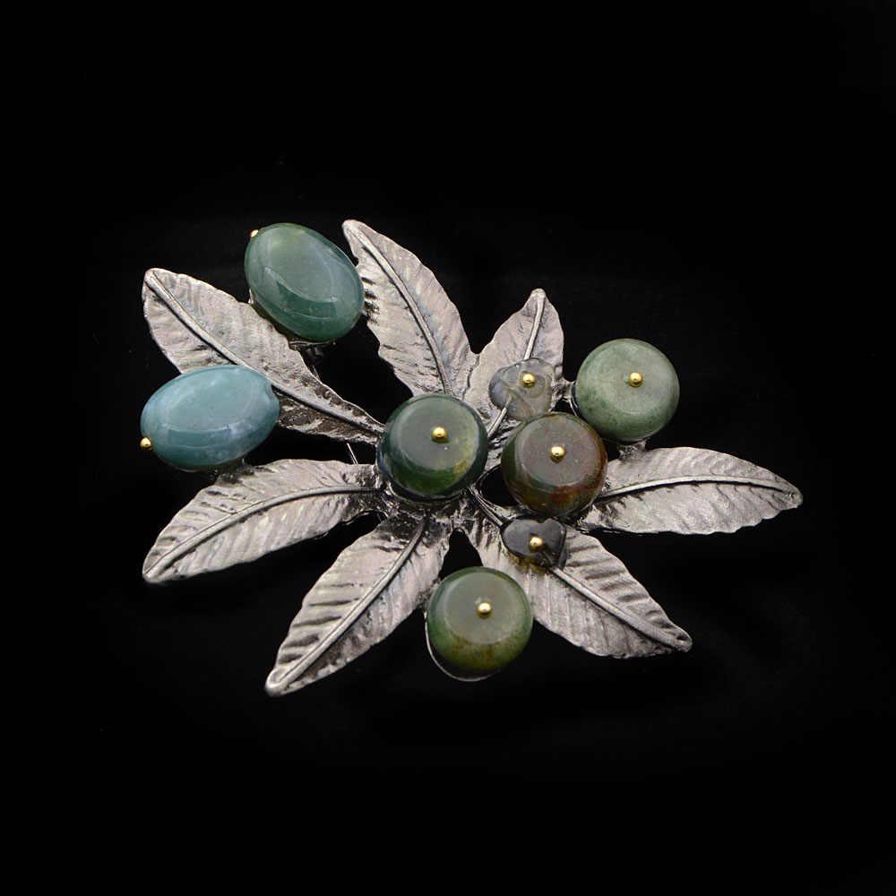 Cinkile Batu Alam Daun Bros untuk Wanita Besar Fashion Bros Pin Vintage Gaun Korsase Pin Kualitas Tinggi Baru