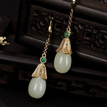 S925 pure silver restoring ancient ways is natural stone  pendant long senior lady elegant earrings