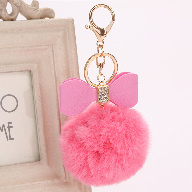 Fur Pompon Key Chain with Cubic Zirconia Paved PU Bow Design Fake Rabbit Full Ball Key chains for Women Car Bag Key Ring 8mm