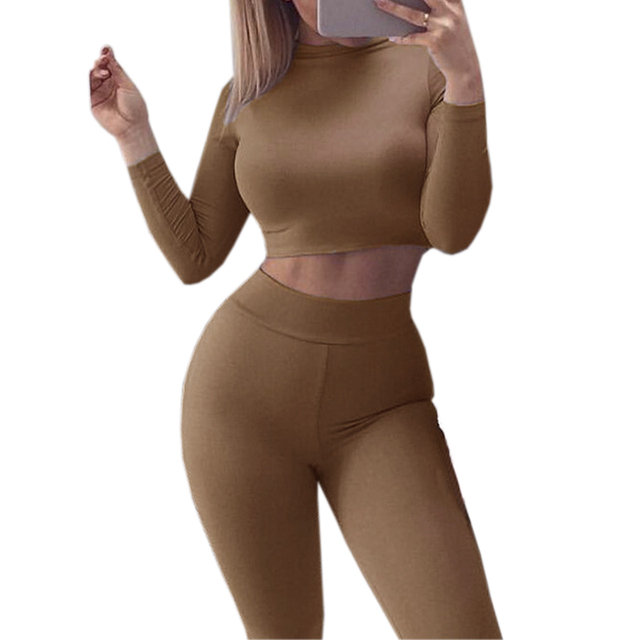 Sexy Skinny Pants Crop Top Women Sets Sportsuits Bodycon Outfits Set Tops Sexy Tracksuits 3