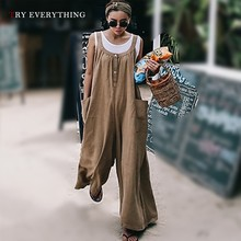 Khaki Casual Jumpsuit Women Summer 2019 Pleated Elegant Overalls For Button Pockets Loose Rompers Womens