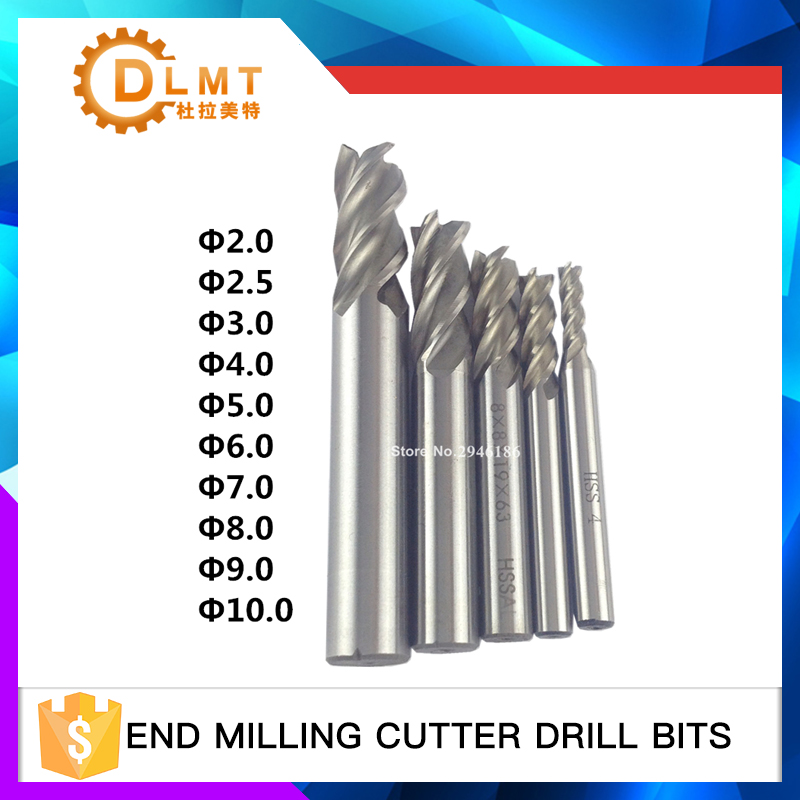 10PCS HSS 2 2.5 3 4 5 6 7 8 9 10mm Milling Cutter CNC Straight Shank 4 Flute End Mill Cutter Drill Bit