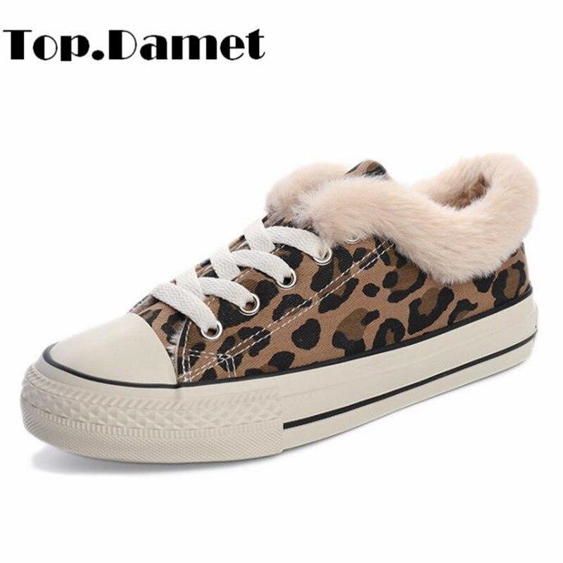 Top.Damet Sneakers Women Leopard Lace Up Flat Shoes Casual Winter Warm Short Plush Canvas Shoes Ladies High Top Walking Sneakers