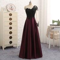 Evening Dresses Elegant One Long Sleeve Evening Gowns Black Lace Appliques Vestido Longo De Festa Beading Dress Evening Dresses