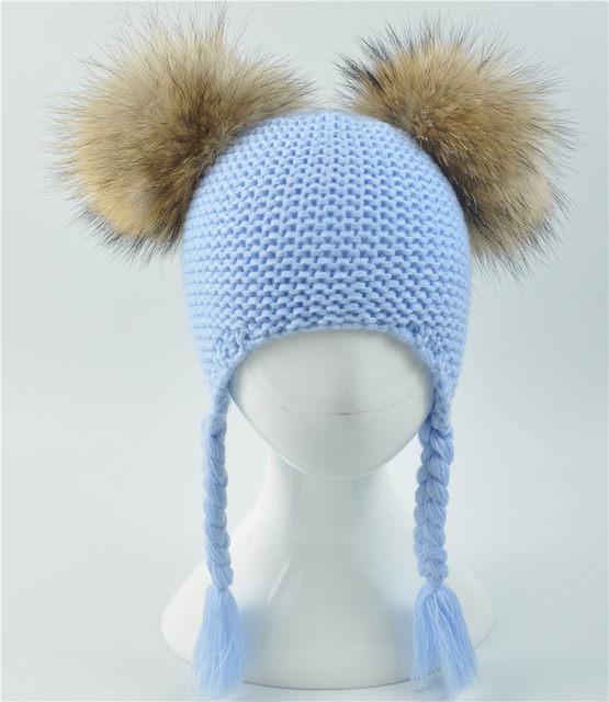 Crianças Inverno Dois Reais Fur Pompom Hat Crianças Chapéu de Crochê ... fe11bdd4f70