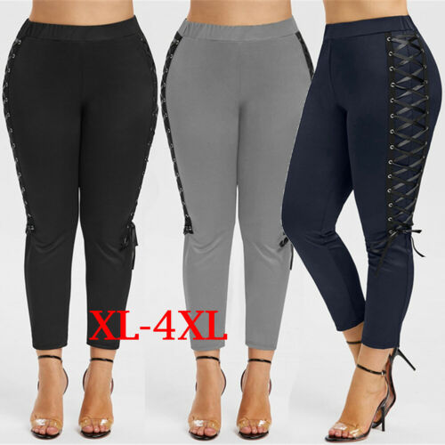Women Sport Pants High Waist Fitness   Leggings   Running Gym Scrunch Trousers Ladies Cross Straps   Leggings   Large Size XL-4XL