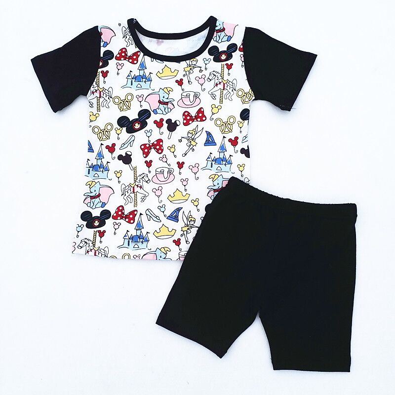 2018 Boutique Kids Clothes Summer Baby Boy Cotton Mickey Toddler Boys Clothing Set 2018 New Children Cartoon Suit T shirt