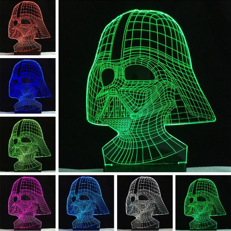 Lave Lampara Star War figure Darth Vader 3D Led Sleeping Nightlight Touch senser USB Table Illusion Mood Dimming Lamp 7 Color светильник декоративный 3dlightfx sw darth vader saber 3d