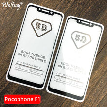 5D Full Glue Tempered Glass Pocophone F1 Screen Protector Glass For Xiaomi PocoPhone F1 Full Cover Glass For Xiaomi Little F1(China)