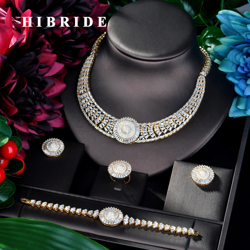 HIBRIDE Big Luxury Round Design Brilliant Women Jewelry Set Wedding Dress Necklace Earring Jewelry Set For
