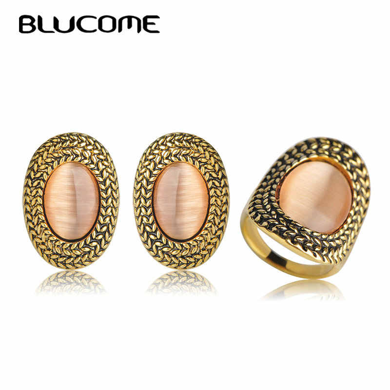 Blucome Antique Gold Color Stud Earrings Ring Jewelry Sets Round Simulated Opal Earrings Women Wedding Party Accessories Female