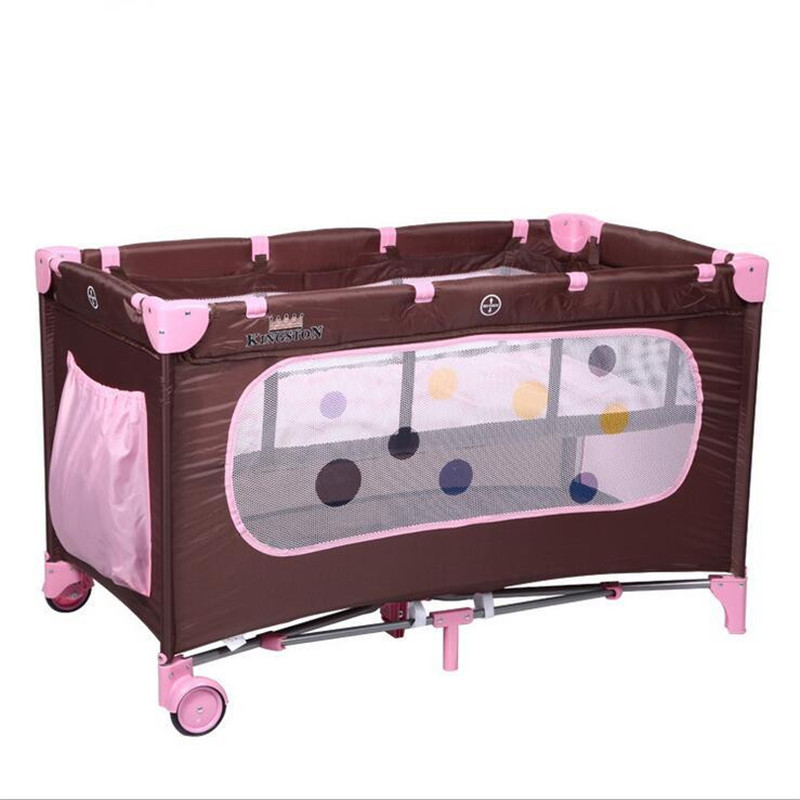 2017 Height Adjustable Baby Girl&Boy Bed Cribs Portable Foldable Playpen Crib Child Alloy Double Folding Cot  Pink,Blue Color