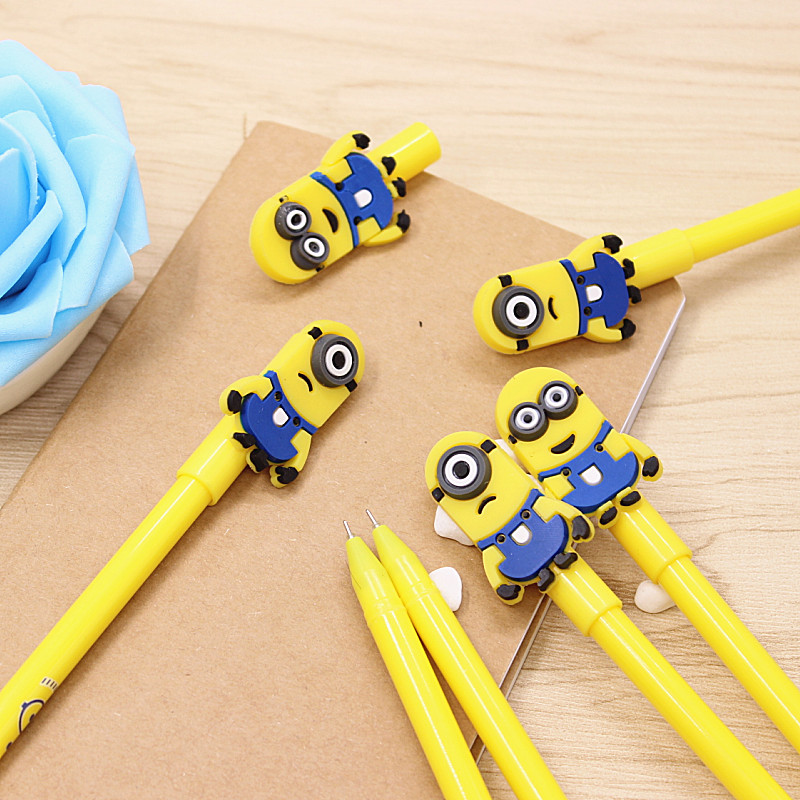 Free Shipping 2 pieces/lot 0.5mm Cute Korean Stationery Small Yellow People Gel Pen School & Office Supplies