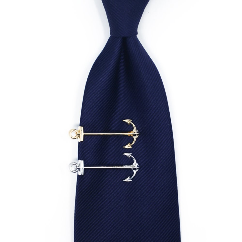Men s Classic Metal Tie Clip Clamp Nautical Anchor Fashion Tie Bar Clasp Silver Gold Wedding