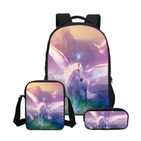 VEEVANV 3 PCS SET 3D Animal Unicorn Bookbag Children Backpacks Men Cool Lion Printing Backpack School