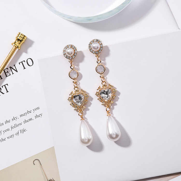 MENGJIQIAO 2018 New Fashion Clear Crystal Love Heart Long Pendientes Mujer Moda Water Drop Simulated Pearl Dangle Earrings Gifts