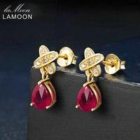 LAMOON Łezki Ruby Red Stadniny Kolczyki 925 Sterling Silver Fine Jewelry 14 K Yellow Gold Plated Wiszące Kolczyki Dla Nowożeńców LMEI050