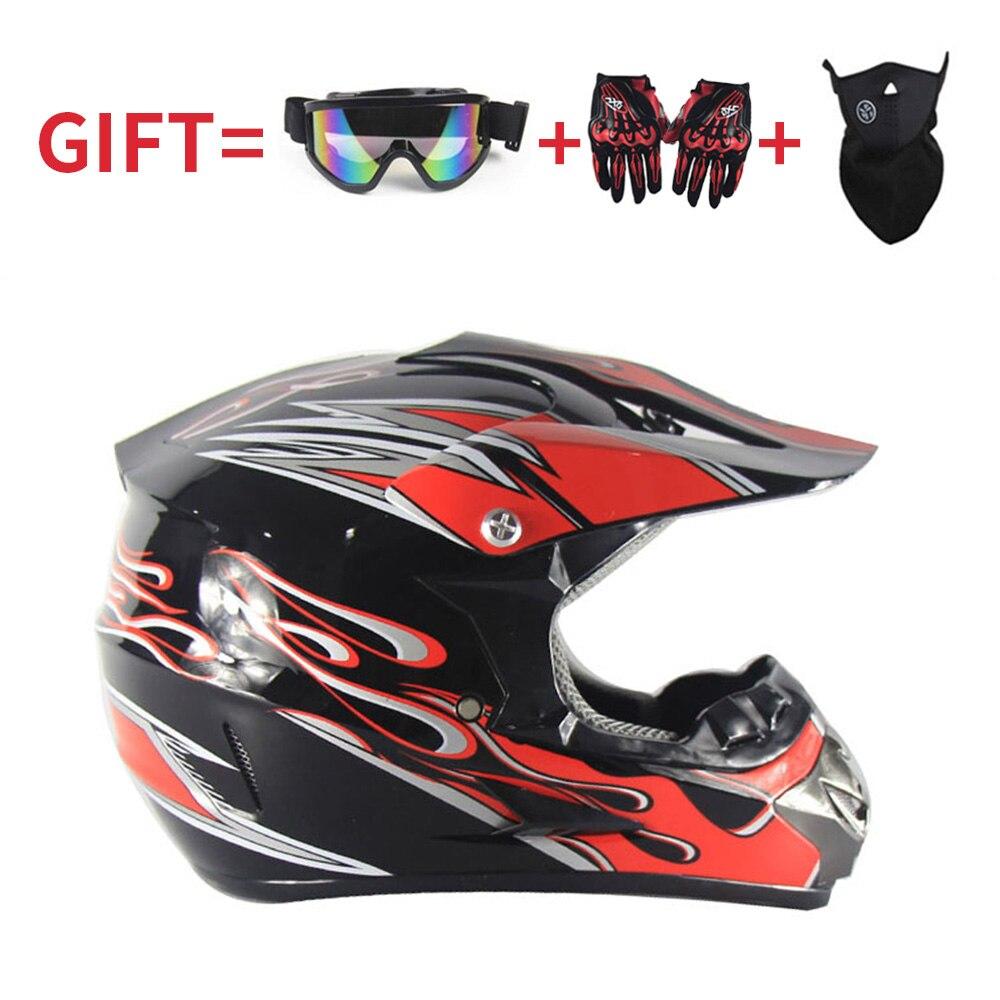 Di Modo Caschi Da Moto 3 Regalo Per Occhiali Guanti E Maschera Per Adulti Off Road Dirt Bike Motocross Multicolor Casco Da Corsa